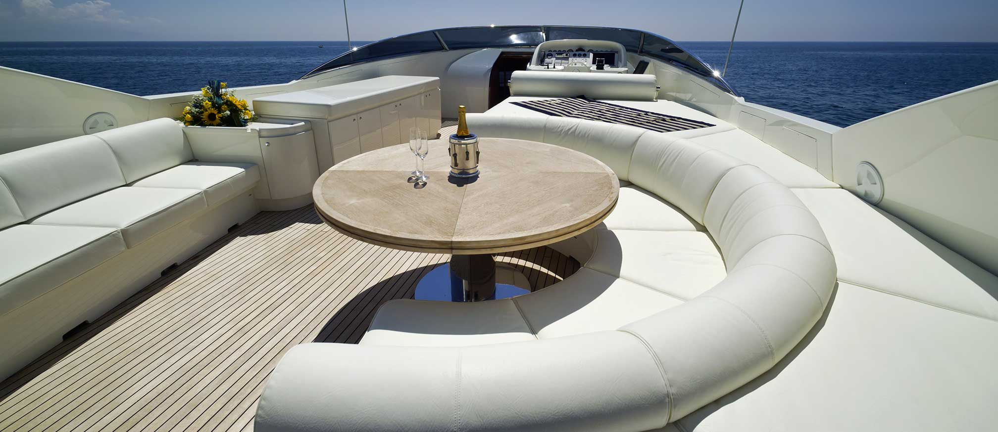 Charter yacht with champagne